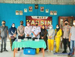 Polres Pesawaran Gelar Vaksinasi Bersama Pokdar Kamtibmas di Waykhilau